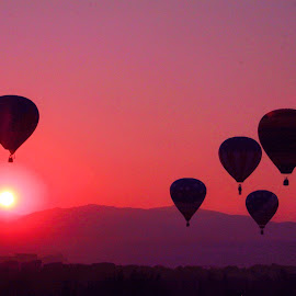 HOT AIR BALLOONS AGAINST A RED SKY MORNING by Gerry Slabaugh - Transportation Other ( spirit of boise, hot air balloon, boise, dawn, red sky, silouhette, transportation, balloon,  )