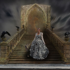 Honour Guard by Corin Spinks - Digital Art People ( raven, sky, stairs, arch, waves, dress, staircase, sea, beach, steampunk, leopard )