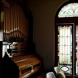 Stained Glass Lighting on Organ by Lorraine D.  Heaney - Buildings & Architecture Places of Worship