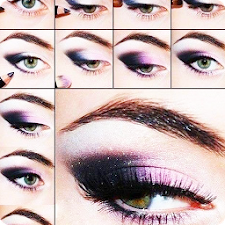 Eye makeup with their hands