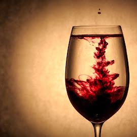drunken glass by Martin Jensen - Artistic Objects Glass ( wine, water, purple, splash, yellow, photography )