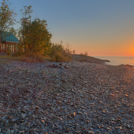 Sunrise at the cabin  by Garrick Meyer - Landscapes Sunsets & Sunrises ( relax, tranquil, relaxing, tranquility )