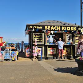 Icecreams beach kiosk  by Eloise Rawling - Novices Only Street & Candid ( scarborough, south bay, beach kiosk, sunny,  )