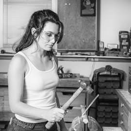 Elise BW 6096 by Carl Albro - Black & White Portraits & People ( workshop, black and white, woman, worker, beauty, hammer )