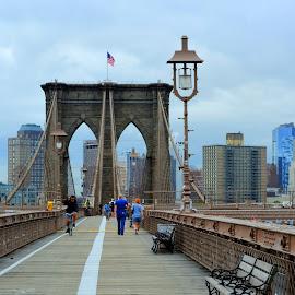 A Morning @ Brooklyn Bridge by Prottay Adhikari - Buildings & Architecture Bridges & Suspended Structures ( brooklyn bridge, america, new york, new york city, nyc, usa )