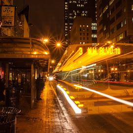 Phathom Bus by Carl Albro - City,  Street & Park  Street Scenes ( columbus, bus, street, night, long exposure )
