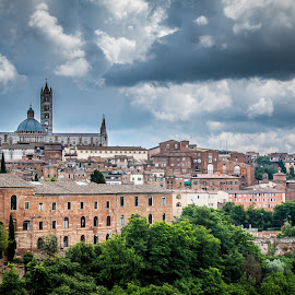 Siena by Mario Horvat - City,  Street & Park  Vistas ( clouds, chatedral, tuscany, italia, outdoor, architecture, italy, siena, panorama, city )