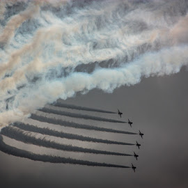 Smokin' by Paul Vine - Transportation Airplanes ( red arrows, aeroplane, silhouette, smoke, hawk, flight, arrows, red, aircraft, silhouettes, aerobatics team, aerobatics, trails, airshow,  )
