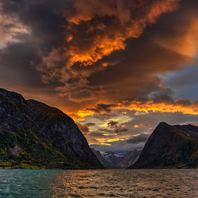 Burning sky by Rune Askeland - Landscapes Sunsets & Sunrises ( clouds, mountains, jølster, autumn, fall, lake, sunrise, norge, norway )