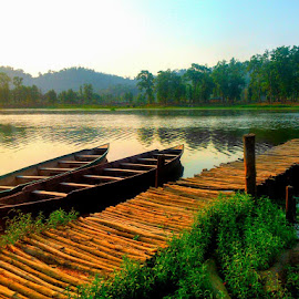 Boat and the bridge  by Prince Frankenstein - Transportation Boats ( hills, trees, lake, bridge, boat,  )