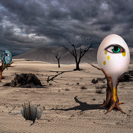 Stranded by Katherine Rynor - Digital Art Things ( clouds, eggs, desert, texture, trees, surreal, eyes )