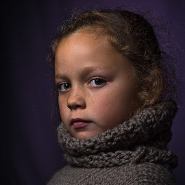 Maci  by David Spillane - Babies & Children Child Portraits ( renaissance, child, girl, delightful perspective, nsw, noble, lithgow, wool, portrait, eyes, jumper )