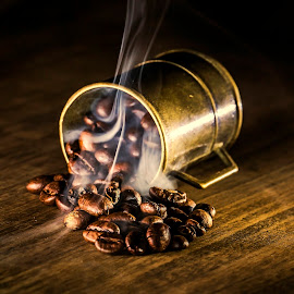 Hot coffee beans by Dumitru Doru - Food & Drink Ingredients ( aroma, fresh, beans, coffee, hot, arabian, morning, restaurant )