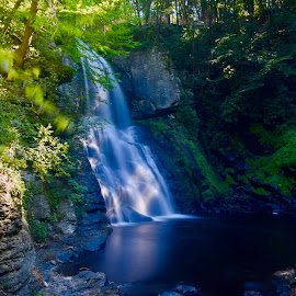 Bushkill Falls by Santford Overton - Landscapes Waterscapes ( landscapes, mountains, waterscapes, leaves, reflections, light, hills, river, water, trees, colors )