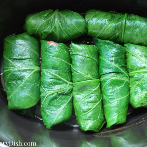 Slow cooker Steak Stuffed Collard Rolls