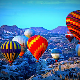 Cappadocia, Turkey by Andie Andros - Transportation Other ( hot air balloon, the viewing deck, turkey, cappadocia,  )