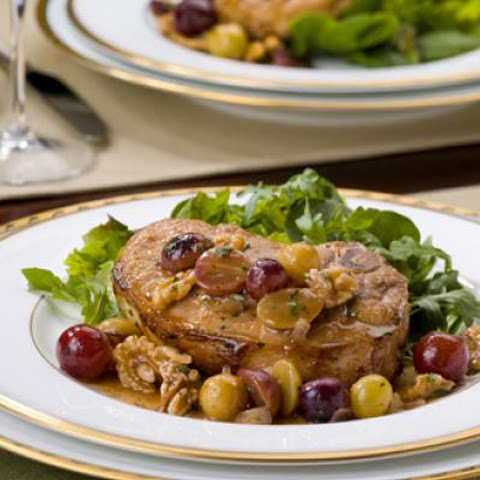 Pork Chops with Roasted Chilean Grape-Pecan Sauce