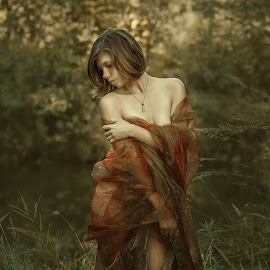 Girl and Autumn by Dmitry Laudin - People Portraits of Women ( girl, cloth, grass, autumn, beauty, portrait )
