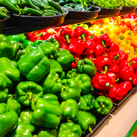 Colorful Peppers by Lawrence Ferreira - Food & Drink Fruits & Vegetables ( grocery, peppers, colors, vegetables, spicy, food photography, veggies, grocery store, foods, food and drink, veg, colorful peppers, nature, food, fruits and vegetables, produce )