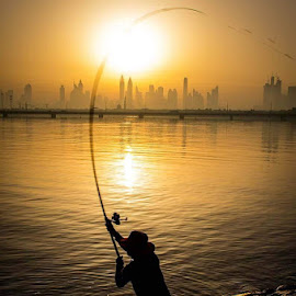 The Angler by Rolly Batacan - Digital Art People ( lake, sunrise, fishing, morning, fisherman )