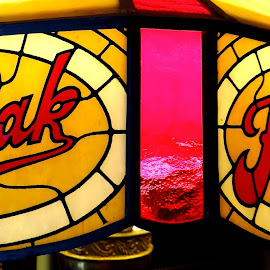 Kodak Lamp by Campbell McCubbin - Artistic Objects Antiques ( film, red, kodak, yellow, lampshade, stained glass, cameras )
