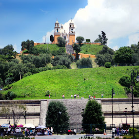 Church over pyramid by Cristobal Garciaferro Rubio - Buildings & Architecture Public & Historical ( choula, church, piramide, mexico, pyramid, puebla )
