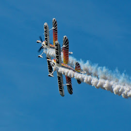 Precision Flying by Wendy Meehan - Transportation Airplanes ( blue sky, bipanes, airplanes, stunt, contrail,  )