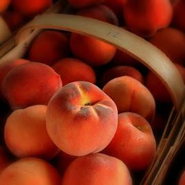 Plump Peaches by Julia Pegler - Food & Drink Fruits & Vegetables ( farmers market, plump, fresh, fuzzy, peaches, produce )