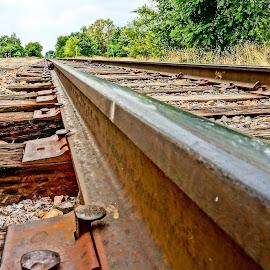 Low on the Tracks by Barbara Brock - Transportation Railway Tracks ( train tracks, leading lines, railroad tracks, infinity, railway tracks )