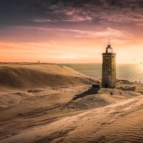 Rubjerg Knude  by Ole Steffensen - Landscapes Sunsets & Sunrises ( sand, dunes, sunset, lighthouse, sea, rubjerg knude, denmark,  )