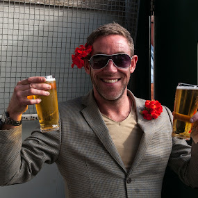 Drink Responsibly by Michael Ripley - People Portraits of Men ( geranium, aviator, lager, tweed, smile )