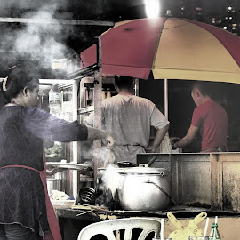 Satay Stall by Nann Photos - City,  Street & Park  Street Scenes ( street, city, street photography,  )