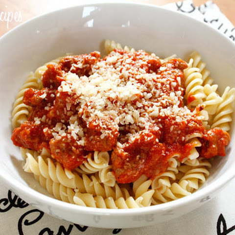 Turkey Sausage and Tomato Sauce over Pasta