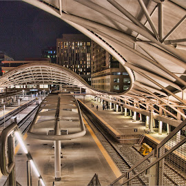 by Bill Dickson - Buildings & Architecture Architectural Detail ( night x srructures, denver x train station x arches )