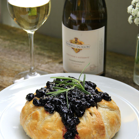 Puff Pastry Baked Brie with Blueberry Chutney