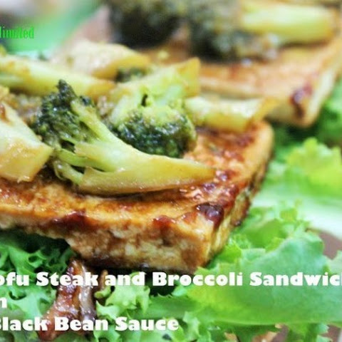 Tofu Steak, Broccoli and Pine Nuts Sandwich in Black Bean Sauce