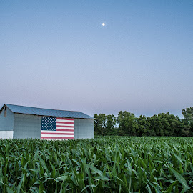 Old Glory by Molly Beale - Buildings & Architecture Other Exteriors ( moon, flag, missouri, america, barn, corn field )