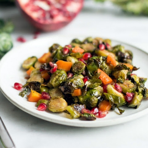 Maple Roasted Brussel Sprouts with Pomegranate