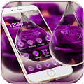 Water Drop Rose Purple Theme APK for Bluestacks