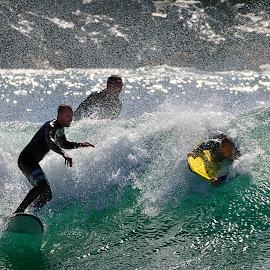 Triad Surfers by Jose Matutina - Sports & Fitness Surfing ( orange county, surfer, california, sport, newport beach, the wedge )