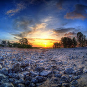 Sunrise Reflects by Mithun Kümär - Landscapes Sunsets & Sunrises ( hdr, trees, pebbles, sunrise, rocks )