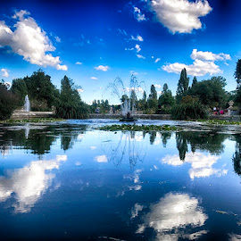 Hyde Park by Abdul Rehman - Instagram & Mobile iPhone ( clouds, natural light, reflection, uk, hyde park, london, lake, natural )