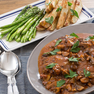 Salisbury Steaks with Spiced Potato Wedges & Roasted Asparagus