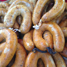 Sausages! by Dawn Simpson - Food & Drink Meats & Cheeses ( sausage, meat, deli, yum, delicious, portugal, spain )
