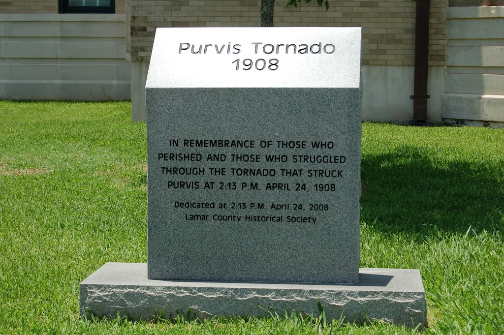 In Remembrance of those who perished and those who struggled through the tornado that struck Purvis at 2:13 P.M. April 24, 1908.Dedicated at 2:13 P.M. April 24, 2008.Lamar County Historical Society