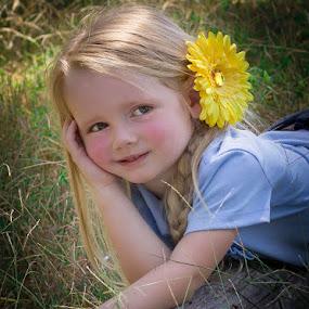 by April Sadler - Babies & Children Child Portraits ( #child #log #grass #bow #park #happy,  )