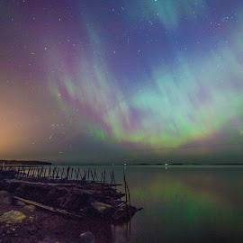 Aurora by Kaj Andersson - Landscapes Starscapes ( colors, aurora borealis, northern lights, night sky, revontulet )