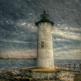 Portsmouth  Lighthouse  by Marc D'Amour - Digital Art Abstract ( new hampshire  scenery, new england  scenery, coastal  scenery, maine photographer, lighthouse )