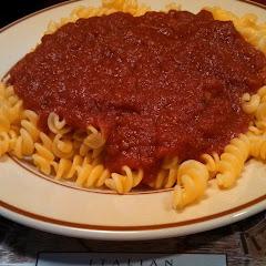 Gluten free pasta and Marinara sauce.