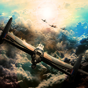Angels Four by Peter Rollings - Digital Art Things ( clouds, spitfire, wwii, aircraft, dramatic, lancaster, sun, hurricane )